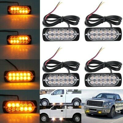 4X Flashing Amber Recovery Strobe 12 Cree LED Lights Grill Breakdown 12v 24v UK • 16.88£