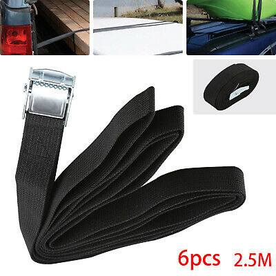 6pack 2.5m Auto Car Cargo Load Lashing Straps Travel Luggage Cam Buckle Tie Down • 7.39£