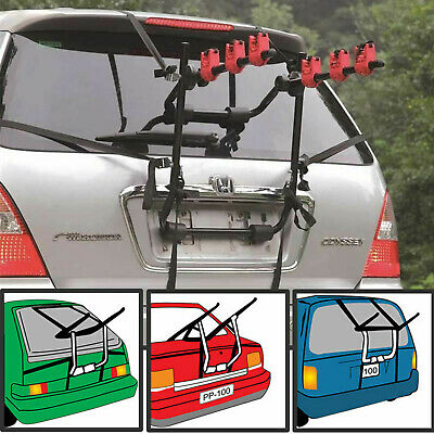 3 Bicycle Bike Car Cycle Carrier Rack Universal Fitting Saloon Hatchback Estate • 29.95£