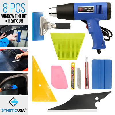 8 PCS Car Window Film Tint+Heat Gun Kits Wrapping Vinyl Tools Squeegee Scraper • 28.67£