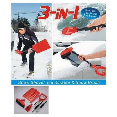 3 In 1 Snow Shovel, Ice Scraper And Brush | Folds Up For Easy Storage. • 8.49£