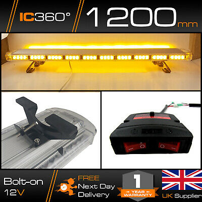 LED Amber Light Bar Strobe Beacon Recovery Warning - 120cm 1200mm 1.2m 47  • 147.87£