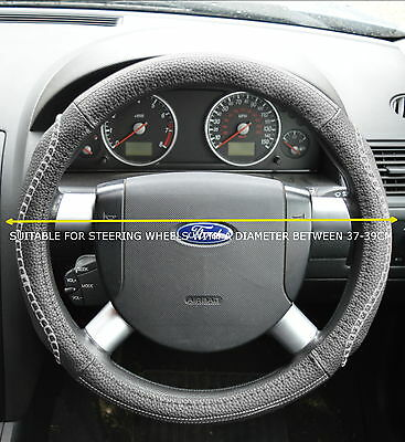 Universal Faux Leather Look Grey Steering Wheel Cover • 7.99£