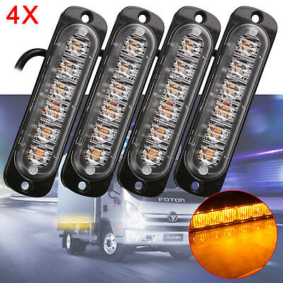 4X 6 LED Car Truck Emergency Strobe Amber Flashing Beacon Breakdown 12/24V Light • 7.99£