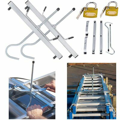 2 Locks Universal Heavy Duty Ladder Roof Rack Clamp Clamps Lockable Safe Ladders • 14.89£