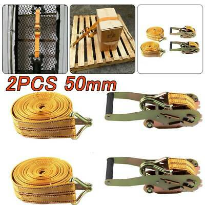 Ratchet Straps Tie Down 2 X 50mm 6 Meter 2 Tons Claw Lorry Lashing Handy Straps • 10.29£