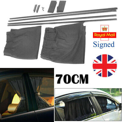 2PCS Car UV Protection Sun Shade Curtains Side Window Mesh Cover Shield 70cm UK • 12.96£
