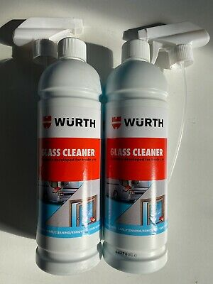 **2 X 1ltr WÜRTH GLASS /POLYCARBONATE /CHROME CLEANER PROFESSIONAL /TRADE • 12.94£