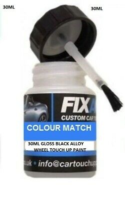 Gloss Black Alloy Wheel Touch Up Paint 30ml With Lid Applicator Brush • 5.88£