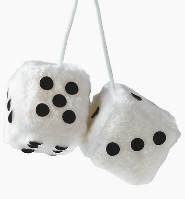 Sumex White & Black Soft Fluffy Furry Car & Home Hanging Mirror Spotty Dice #10 • 4.50£