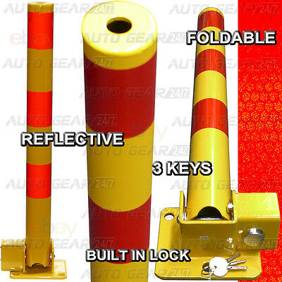 Round Reflective Folding Reserved Parking Bollard Security Post Bar & Bolts • 29.95£