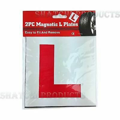 2 X FULLY MAGNETIC L PLATES SECURE Quick Easy To Fix Learner Sign • 1.35£