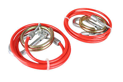 2 Trailer Safety Breakaway Cables - 1 Metre X 3mm Diameter - PVC Coated MP501B • 10.95£