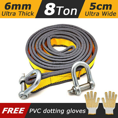 Tow Rope 8T 4x4 Heavy Duty Towing Pull Strap Road Recovery With Two Shackles • 23.95£