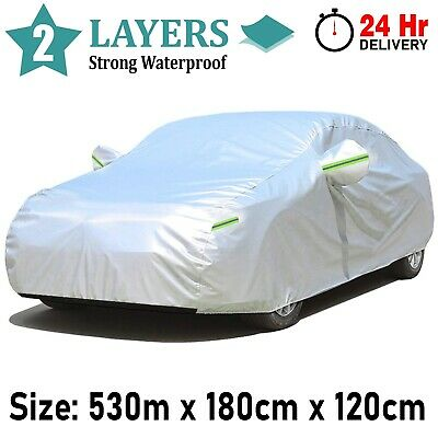 XXL Full Car Cover Waterproof 2 Layer Cotton Heavy Duty Breathable UV Protection • 18.99£
