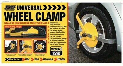 Maypole Universal Easy Fit Wheel Clamp - Ideal For Immobilizing Most Vehicles! • 6.50£