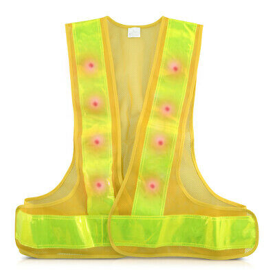 LED Light Up Safety Vest High Visibility Waistcoat For Running Cycling - Yellow • 14.99£