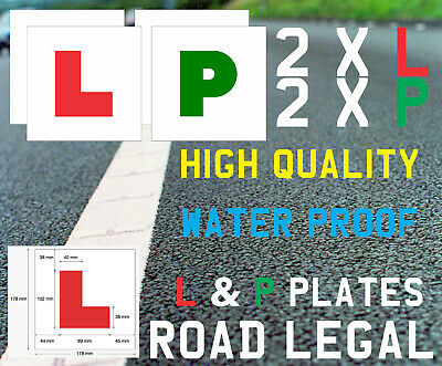 Learner Driver 2xL & 2xP Plate PVC Stickers Self Adhesive Learn Driving Car • 3.99£