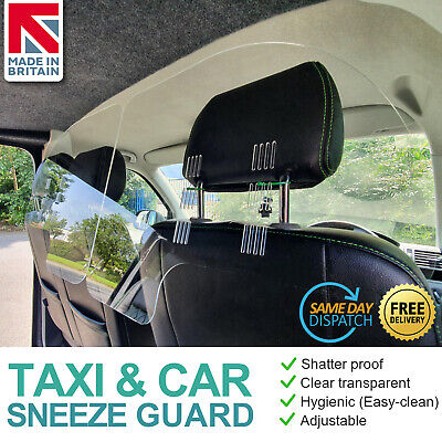 Taxi Isolation Screen Sneeze Guard Car Partition Minicab Shield, Clear Plastic • 34.99£