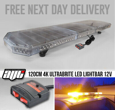 LED Amber Light Bar Strobe Beacon Recovery Warning - 120cm 1200mm 1.2m 48  • 160£