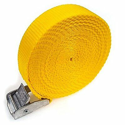 6 Buckled Straps 25mm Cam Buckle 5 Meters Long Heavy Duty Load Yellow 250kg • 7.89£