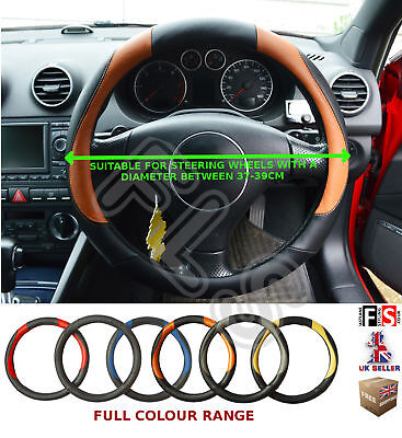 Universal Black/brown 37 To 39cm Faux Leather Steering Wheel Cover-nsn3 • 4.99£