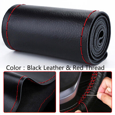 Black+Red DIY Genuine Leather Car Steering Wheel Cover Protect W/ Needles&Thread • 7.26£