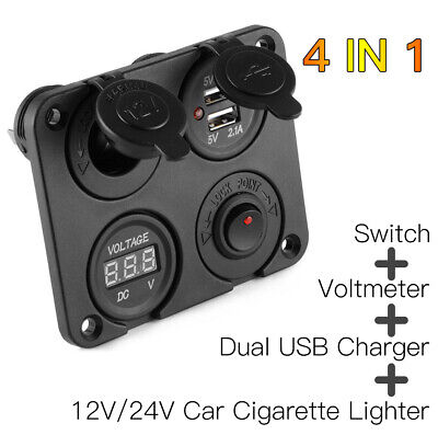 UK 12V Car Cigarette Lighter Socket + Dual USB Port Charger + Voltmeter Panel • 12.97£