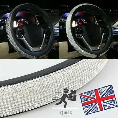 Car Steering Wheel Crystal Sparkled Diamond Cover PU Leather Skidproof Bling NEW • 9.89£