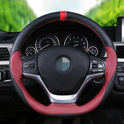 Universal Leather 38cm DIY Car Red Wine Steering Wheel Cover With Needles Thread • 6.98£
