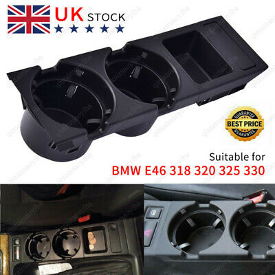 Center Console  Cup Holder Black Cup Holder Coin Storage Tray For E46 325 330 Uk • 13.39£