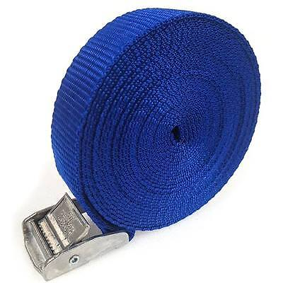 2 Buckled Straps 25mm Cam Buckle 5 Meters Long Heavy Duty Load Securing Blue • 3.98£