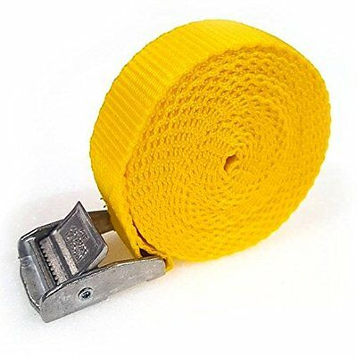 4 Buckled Straps 25mm Cam Buckle 2.5 Meters Long Heavy Duty Load Yellow 250kg • 4.99£