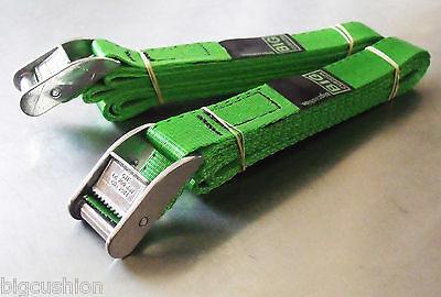 2-pack Of 3.0m TOUGH Cam Buckle Straps Green - Trailer Cargo Tie-down Lashings • 10.32£