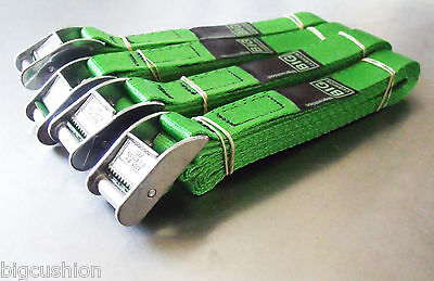 4-pack Of 3.0m TOUGH Cam Buckle Straps Green - Trailer Cargo Tie-down Lashings • 18.23£