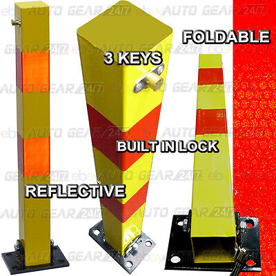 Square Reflective Folding Private Reserved Parking Bollard Security Post & Bolts • 38.70£