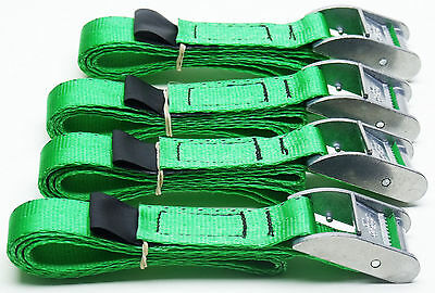 4-pack Of 1.0m TOUGH Cam Straps Green - Small Tie-down Cargo Lashings • 13.09£