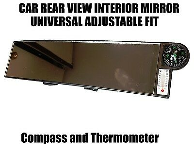 30CM Wide Car Rear View Mirror Interior Large Clip On - Compass Thermometer AC64 • 5.95£