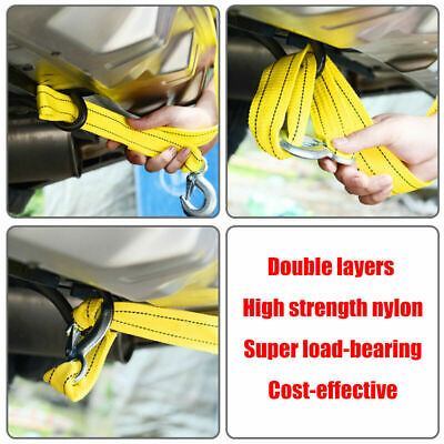 4M Heavy Duty 5 Tons Car Tow Cable Emergency Trailer Pull Rope Strap 2 Hooks UK • 6.95£