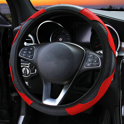 Black & Red Soft Real Genuine Leather Cars Steering Wheel Cover Glove 37-38cm • 7.99£