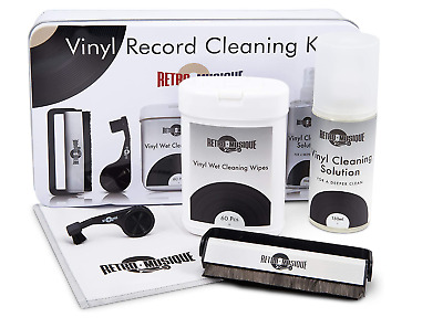 Retro Musique Deluxe Vinyl Record Cleaning Kit In Tin Wipes Fluid Stylus +Brush • 14.95£