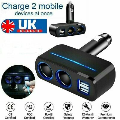 2 Way 12V Dual USB Car Charger Socket Cigarette Lighter Splitter Power Adapter • 5.29£