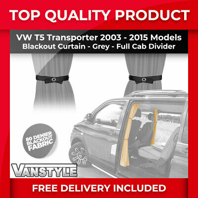 Vw T5 03-15 Tailored Fit Black Out Cab Divider Separator Curtain In Grey Fabric • 31.99£