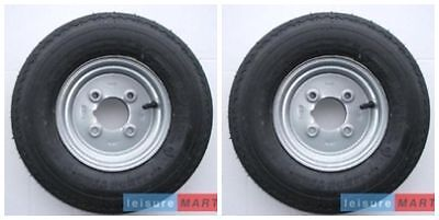 A Pair 400 X 8, 4.80 / 4.00 X 8 Inch Trailer Wheels And Tyres 4 Ply, 4 Inch PCD • 45.47£