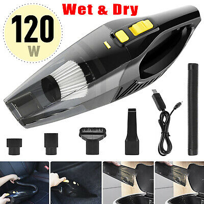 Portable 120W Cordless Car Vacuum Cleaner Wet & Dry Handheld 12V Rechargeable UK • 15.99£