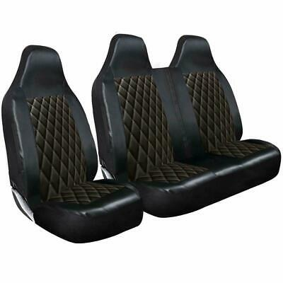 Ford Transit (mk7) - Deluxe Black Quilted Diamond Leather Van Seat Covers 2-1 • 29.49£