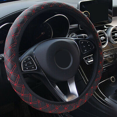 Black And Red Car Steering Wheel Cover PU Leather 38cm Non-Slip Protection Cover • 4.24£