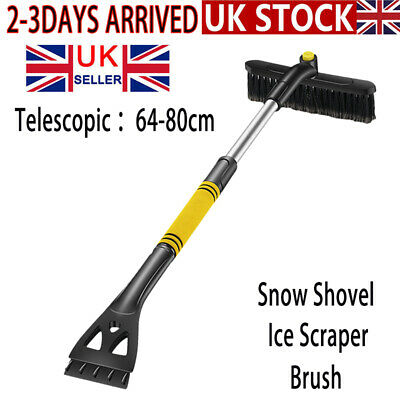 3 In 1 Telescopic Snow Shovel Ice Scraper And Brush Car Cleaning Easy Storage YL • 14.99£