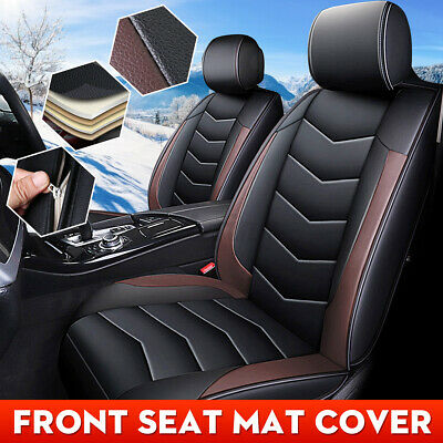 Coffee Universal Car Front Seat Mat Cover PU Leather Breathable Cushion Pad UK • 16.99£