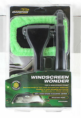 Windscreen Wonder Cleaner Extra Long Handle Pivoting Head & 2 Microfibre Pads • 5.99£